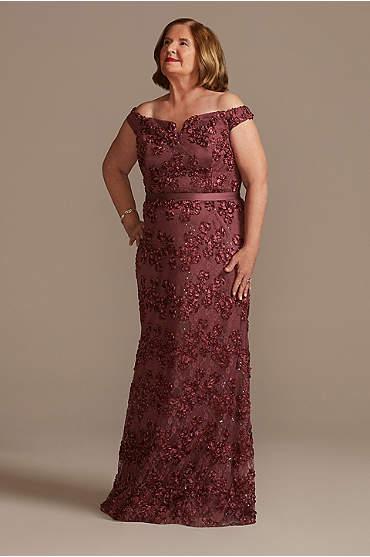 Off-the-Shoulder Sparkle Sheath Plus Size Gown