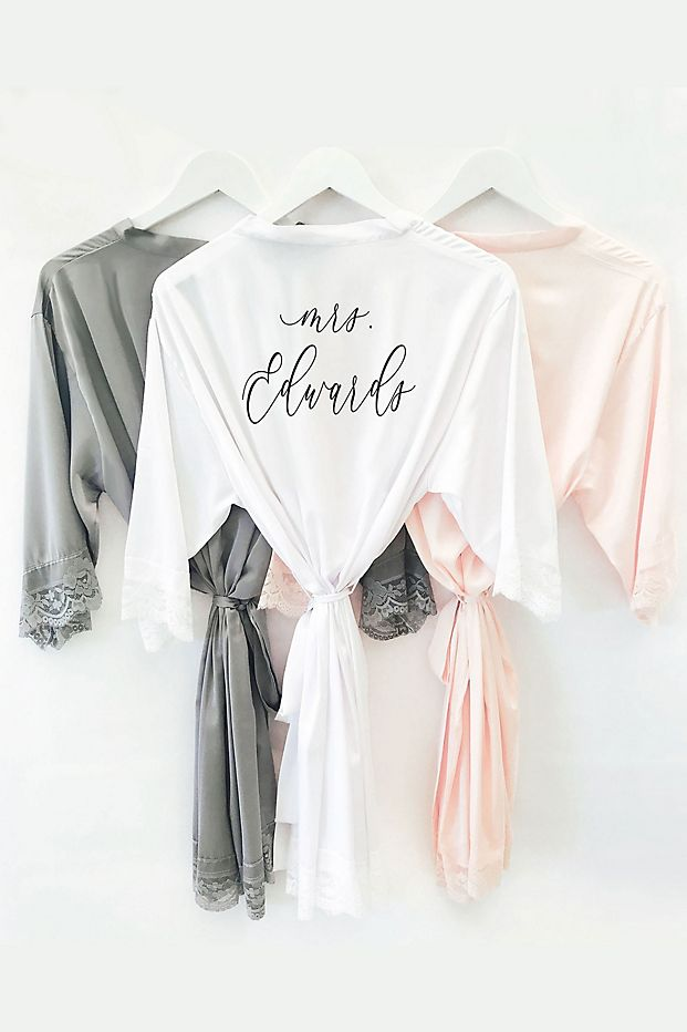 Personalized Satin and Lace Robe