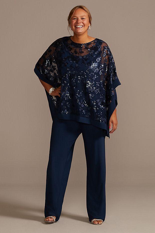 Beaded Chiffon Plus Size Pantsuit with Jacket
