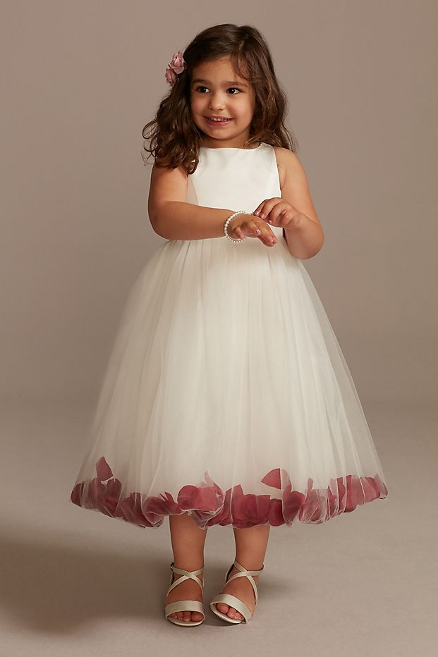 Satin Tulle Flower Girl Dress with Colored Petals