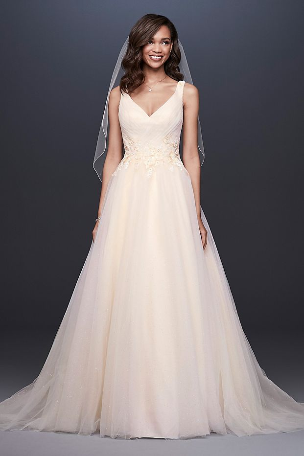 Appliqued Glitter Tulle A-Line Wedding Dress