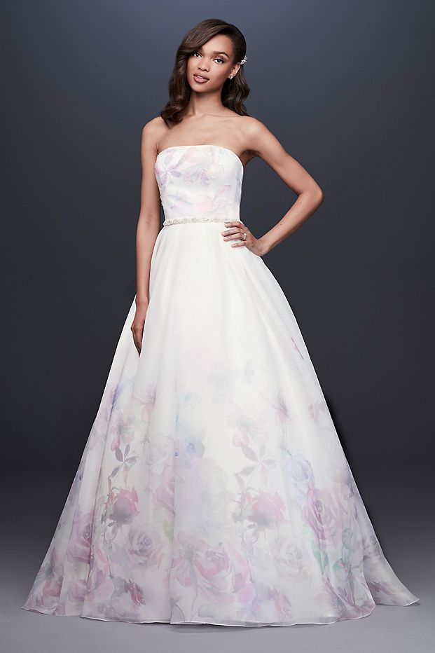 Floral Watercolor Organza Ball Gown Wedding Dress
