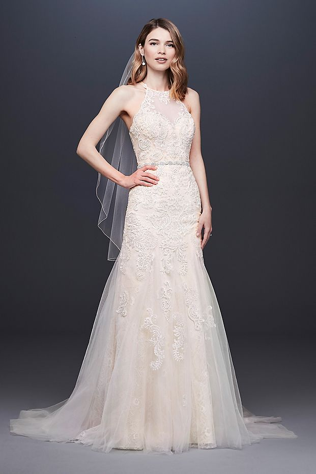 High Neck Beaded Lace Mermaid Wedding Dress