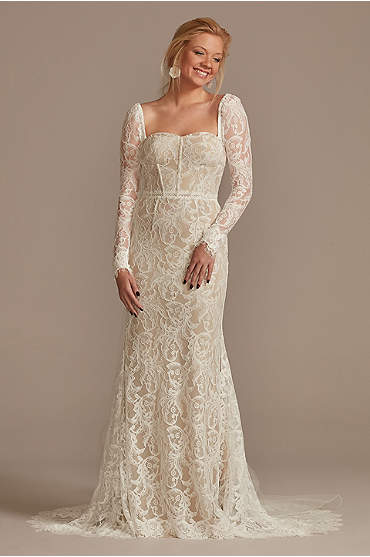 Detachable Sleeves Lace Sheath Petite Wedding Dres
